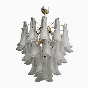 Italienische Mid-Century Deckenlampe aus Muranoglas & Messing von Mazzega, 1980er