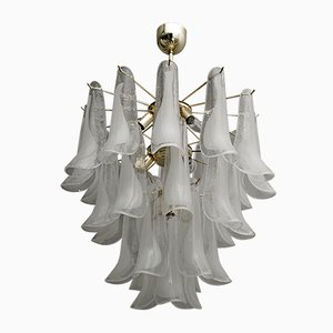 Mid-Century Italian Murano Glass and Brass Ceiling Lamp from Mazzega, 1980s
