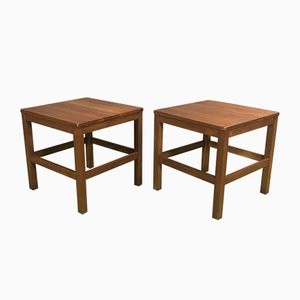 Teak Pedestal Tables, 1970s, Set of 2