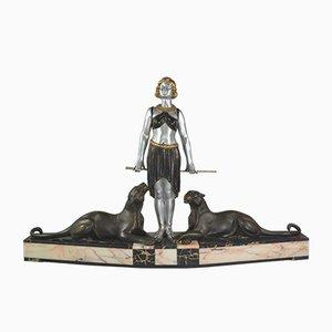 Grande Sculpture Dompteuse de Panthères Art Déco par Louis-Albert Carvin, années 20