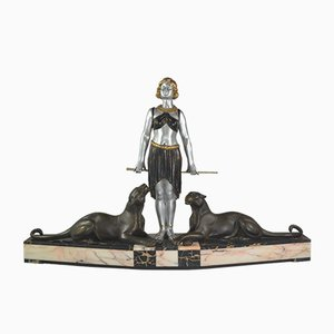 Große Art Déco Panther Bändigerin Skulptur von Louis Albert Carvin, 1920er
