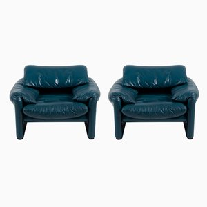 Blue Leather Model Maralunga Lounge Chairs by Vico Magistretti for Cassina, 1970s, Set of 2