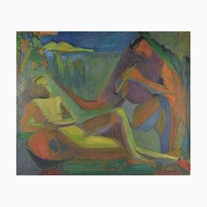 Peinture à l'Huile Couple Cubiste par Elisabeth Ronget, années 30