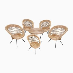 Rattan Lounge Chairs and Table, 1960s, Set of 6