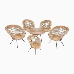 Rattansessel & Tisch, 1960er, 6er Set