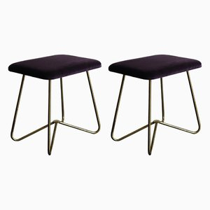 Italian Brass and Velvet Stools, 1950s, Set of 2