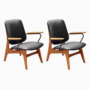Moderne graue niederländische Mid-Century Sessel, 2er Set
