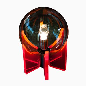 Large Italian Lucite, Glass, and Chromed Table Lamp, 1960s