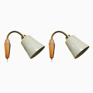 Apliques escandinavos de teca y metal, años 50. Juego de 2