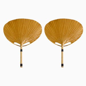 Model Uchiwa Fan Sconces by Ingo Maurer for M Design, 1970s, Set of 2