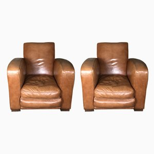 Mid-Century Camel Leather Club Chairs, Set of 2