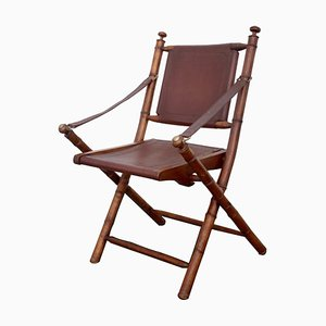 Vintage Military Campaign Leather Folding Chair