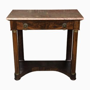 Antique Mahogany Veneer and Pink Marble Console Table