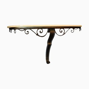 Large Wrought Iron and Travertine Console Table, 1950s