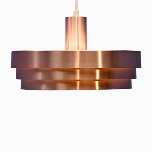 Danish Pink Copper Pendant Lamp, 1970s