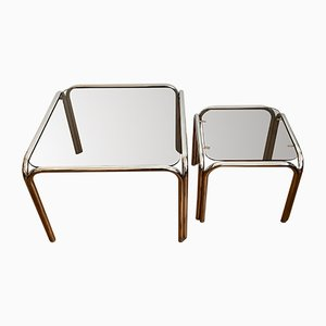 Chrome and Dark Tinted Glass Side Tables, 1970s, Set of 2
