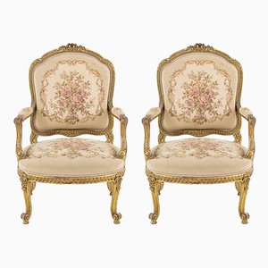 Giltwood Antique Armchairs, 1880s, Set of 2