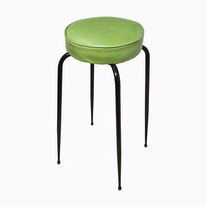 Mid-Century Steel and Green Leather Stool, 1950s