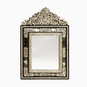 Miroir Style Régence en Laiton Argenté, 19e Siècle