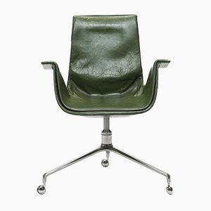 Green Leather Tulip Swivel Chair by Preben Fabricius & Jørgen Kastholm for Alfred Kill, 1970s