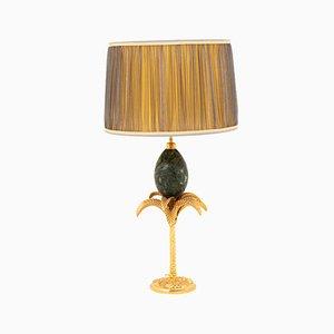 Lámpara de mesa en forma de palmera con huevo de mármol de Maison Charles, años 70