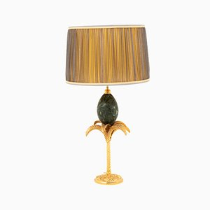 Palm Tree Table Lamp with Marble Egg from Maison Charles, 1970s