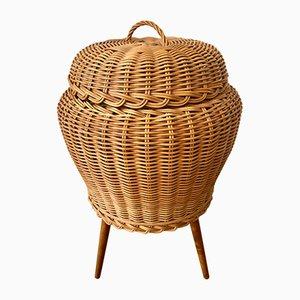 Mid-Century Nähkorb aus Holz & Rattan