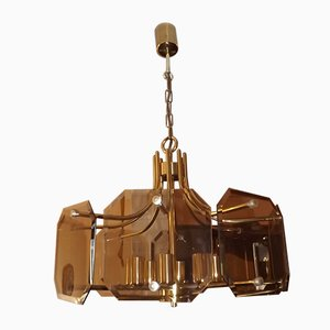 German Smoked Glass and Brass Chandelier from Sische, 1970s