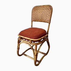Chaise d'Appoint Mid-Century en Rotin et Bambou