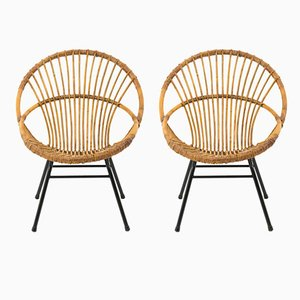 Rattan and Metal Armchairs, 1960s, Set of 2