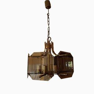 Lámpara de araña alemana de vidrio ahumado y latón de Sische, años 70