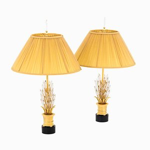 Gilt Brass and Glass Crystal Table Lamps, 1970s, Set of 2