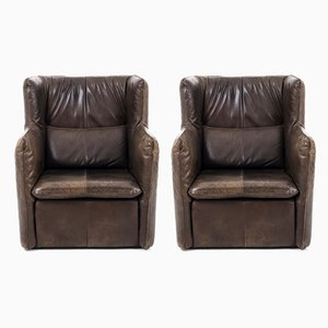 Brown Leather Armchairs by Van den Berg for Montis, 1970s, Set of 2