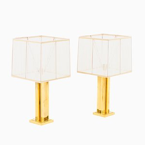 Gilt Brass Geometric Table Lamps, 1970s, Set of 2
