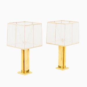 Lámparas de mesa geométricas de latón dorado, años 70. Juego de 2