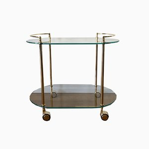 Italian Golden Brass Bar Cart, 1970s