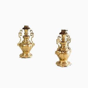 Tischlampen aus vergoldetem Messing & Bronze, 19. Jh., 2er Set