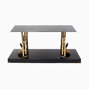 Black Lacquer, Glass, and Gilt Brass Buddha Coffee Table, 1970s