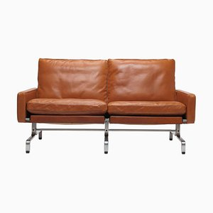 Cognac Leather Model PK 3 1/2 Sofa by Poul Kjærholm for E. Kold Christensen, 1960s