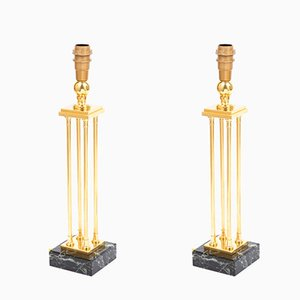 Empire Style Gilt Bronze and Marble Table Lamps, 1970s, Set of 2