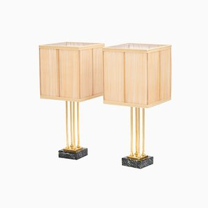 Lámparas de mesa estilo imperial de bronce dorado y mármol, años 70. Juego de 2