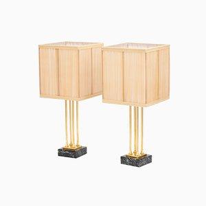 Lampes de Bureau Style Empire en Bronze Doré et Marbre, années 70, Set de 2