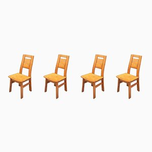Finnish Pine Dining Chairs by Ilmari Tapiovaara for Laukaan Puu, 1960s, Set of 4