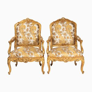 Butacas estilo Louis XV antiguas de madera dorada, década de 1880. Juego de 2