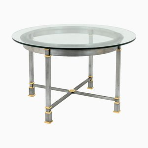 Gilt Metal and Glass Dining Table, 1970s