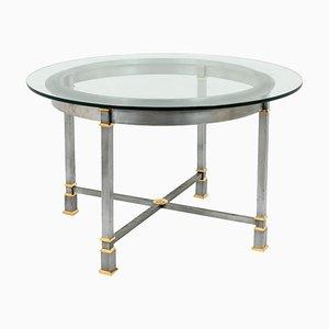Mesa de comedor de metal dorado y vidrio, años 70