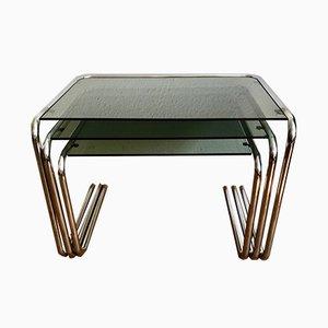Beistelltische aus verchromtem Metall & Glas, 1970er, 3er Set