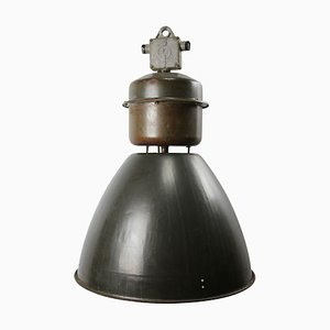 Vintage Industrial Dark Gray Enamel Factory Pendant Lamp, 1950s