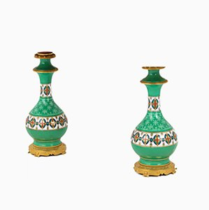 Antique Green Porcelain and GIlt Bronze Table Lamps, 1880s, Set of 2