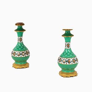 Lámparas de mesa antiguas de porcelana en verde y bronce dorado, década de 1880. Juego de 2